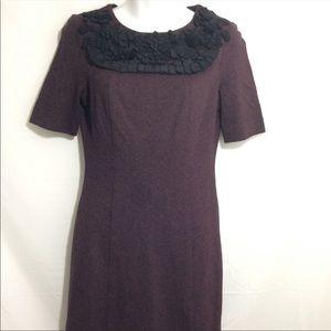Trina Turk dress heathered maroon flower design 0